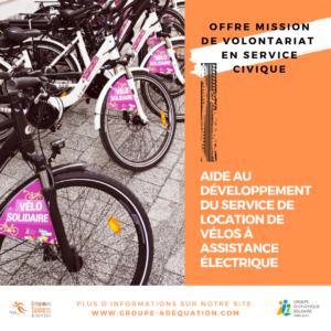 Offre mission de volontariat en service civique : vélo solidaire