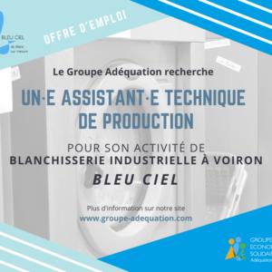 BLEU CIEL BLANCHISSERIE RECRUTE UN·E ASSISTANT·E TECHNIQUE DE PRODUCTION