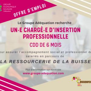 LA RESSOURCERIE RECRUTE UN·E CHARGE·E D'INSERTION PROFESSIONNELLE / CDD 6 MOIS